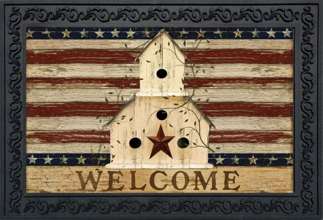 """Americana Welcome Doormat Patriotic Primitive Birdhouse Indoor Outdoor 18/""""x30/"""""""