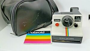 Vintage-Polaroid-One-Step-Land-Camera-W-Instruction-Booklet-And-Case-Excellent