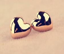 1 Pair Korea Wedding Simple Sweet Love Heart Gold Plated Party Lady Earrings DIC
