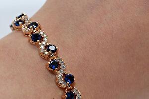 4ct-18K-Yellow-Gold-Finish-Blue-Diamond-Women-039-s-Tennis-Bracelet-7-034-Size