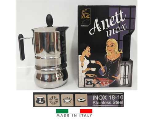 IDEA REGALO CAFFETTIERA ANETT INOX 2 TZ IN ACCIAIO INOX 18//10 MADE IN ITALY