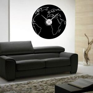 sticker mural horloge g ante mappemonde ronde avec m canisme aiguilles ebay. Black Bedroom Furniture Sets. Home Design Ideas