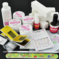 Pro Bf Uv Gel Nail Kit + 5 File Block + Tips Clear Pink White Builder Form Us141