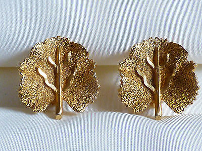 VTG BSK signed Gold Tone Metal birh tree leaf clip on earrings