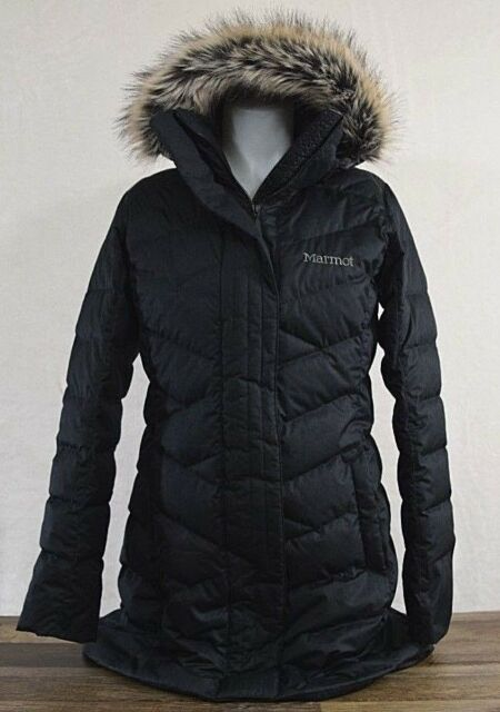 f8d821db5df NWT Marmot Women's Varma Jacket Long Down Black Faux Fur Hood SMALL Coat  Parka