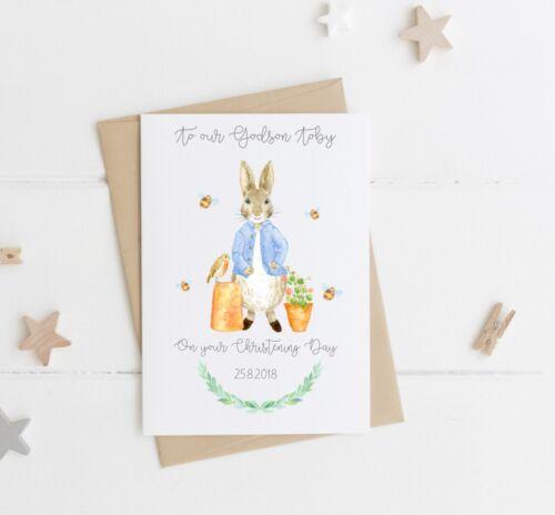 Personalised Peter Rabbit Christening Day Card -Grandson Nephew Son Godson
