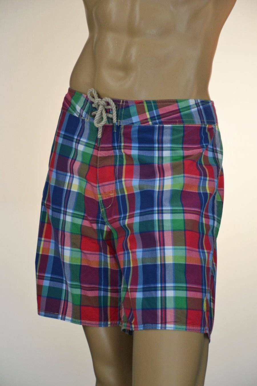 Ralph Lauren Multi-colord Plaid Swim Suit Surf Board Trunks Pony-Sz 36- NWT