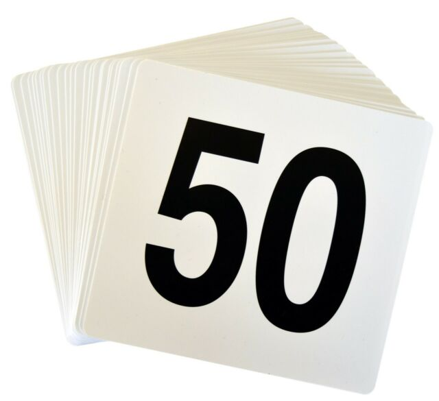 Wedding Event Party Table Number Plastic Place Cards 1-50. Double sided