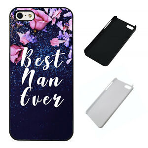 Best-Nan-Ever-blue-floral-plastic-phone-Case-Fits-iPhone