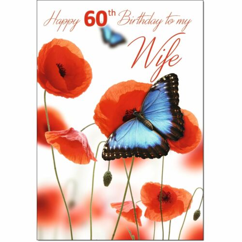 Medium Doodlecards 60th Wife Age 60 Birthday Card Butterfly and Poppies