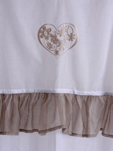 Schlaufenvorhang Weiss Spitzenborte Herz Stickerei Gardine Vorhang Schlaufen