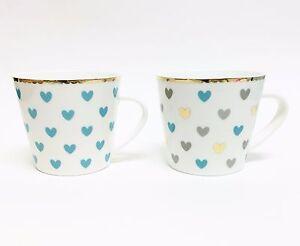 NEW-GRACE-WHITE-TEAL-BLUE-GRAY-GOLD-TRIM-HEARTS-TEA-COFFEE-MUG-TEA-CUP-13-OZ