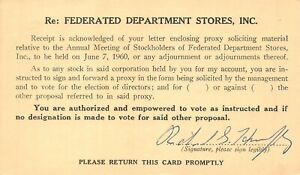 Federated-department-stores-Inc-ASSEMBLEE-GENERALE-ANNUELLE-des-actionnaires-1960-postcard