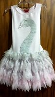 Spring 2016 Kate Mack swan Princess Pink/silver Tutu Dress,3t,nwt