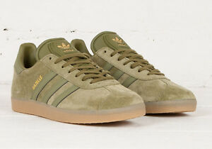 sale retailer da257 c8003 Image is loading NEW-adidas-GAZELLE-Suede-Shoes-Olive-Cargo-BB5265-