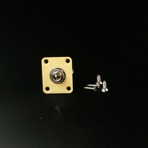 Square //Cream Plastic Plate Guitar Output Jack Socket