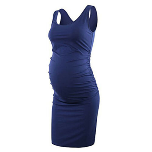 Maternity Dress Pregnant Women Round Collar Sleeveless Solid Color Party Clothes