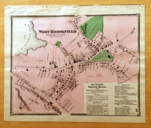 Original Antique 1870 Map WEST BROOKFIELD MA Massachusetts VERY DETAILED Beers
