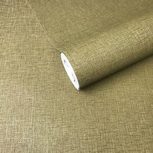 Details About Textured Wallpaper Plain Olive Green Gold Metallic Modern Wall Coverings Rolls