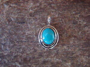 Small-Navajo-Indian-Sterling-Silver-Turquoise-Pendant-Charm-by-Jan-Mariano