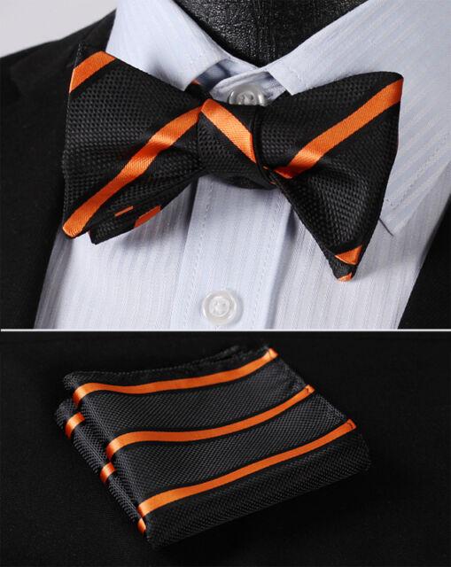 BS316N Orange Black Stripe Bowtie Silk Men Self Bow Tie handkerchief set