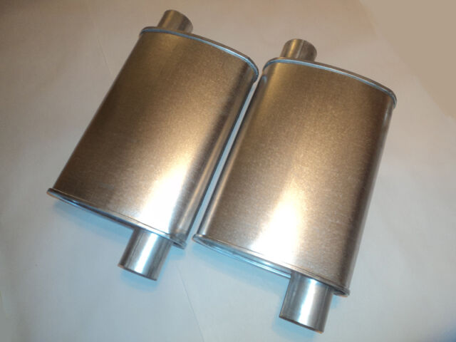 NEW THRUSH PERFORMANCE TURBO MUFFLERS PAIR 2.25 INCH OFFSET IN/OUT ALUMINIZED