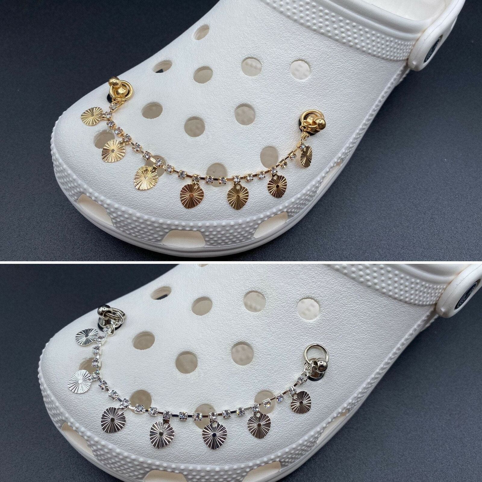 Croc Charms Chain High Quality Luxury Sun Gold and Silver Chain Charms with Rhin