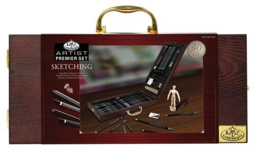 Artist Premier Sketching Drawing Pencils Set Deluxe Wooden Travel Case SKET2020