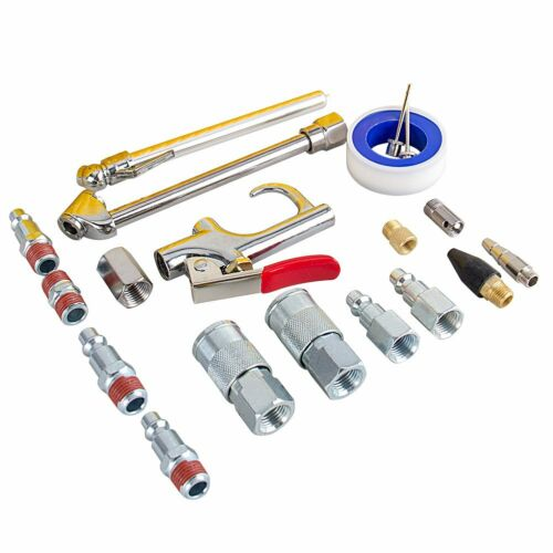 "20Pc1//4/"" NPT Air Compressor Accessory Kit Tool 25FT Recoil Hose Gun Tire Nozzles"