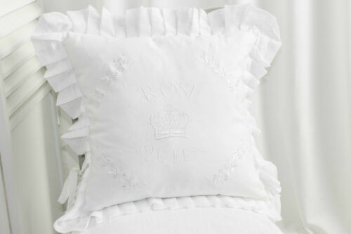 Rose almohada Queen funda 45x45cm blanco rosas volantes volantes landhaus Shabby Chic