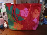Xlarge Tropical Hawaiian Floral Red Canvas Zippered Workout Tote Bag
