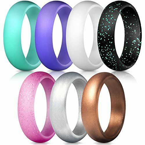 7 Pack Silicone Wedding Rings Band Rubber For Women Flexible Gifts Comfortable