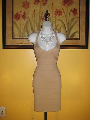 NWT bebe 2b Beige/Nude Ottoman Caged Bandage Dress Size XL
