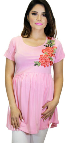Pink Rose Embroiery Maternity Blouse Short Sleeve Top Solid Floral Flower New