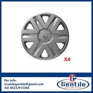 RENAULT-SCENIC-15-034-4-COPPE-RUOTA-COPRICERCHIO-DAL-97-gt-CON-LOGO-CROMATO