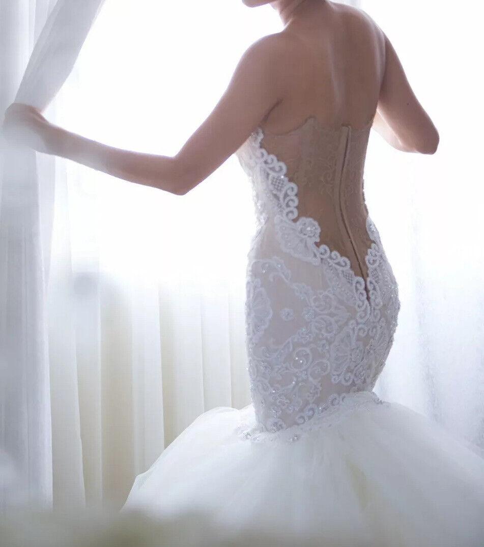 Custom lace crystal couture designer Wedding Dress - image 6
