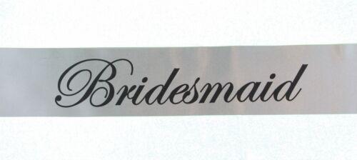 SILVER HENS NIGHT BRIDAL SASH SASHES BRIDE BRIDESMAID MAID OF HONOUR BLACK