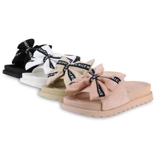 Damen Pantoletten Sandaletten Schleifen Prints Plateau 830678 Schuhe