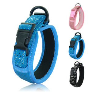 Fashion-Sequins-Pet-Puppy-Dog-Collars-Soft-Neoprene-Padded-Blue-Pink-Black-S-M-L