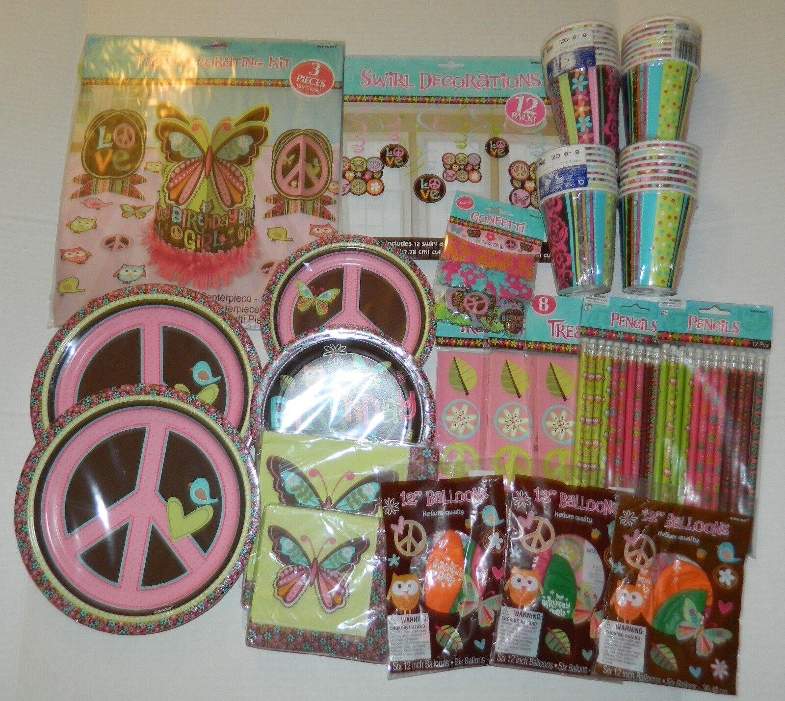 Hippie Fête D'Anniversaire Lot de 16 Swirl Décorations Vaisselle Ballons + +
