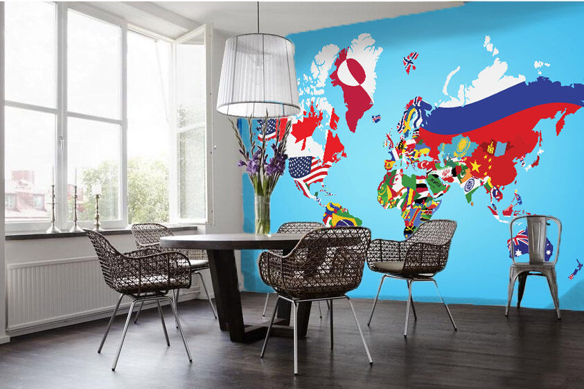3D 3D 3D Flags World Map 936 Wall Paper Wall Print Decal Wall Deco Wall Indoor Murals 2b052b