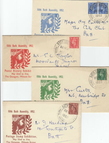 Stamps 1952 KGV1 British issues on set 4 Postal Stamp Exhibition covers postmark