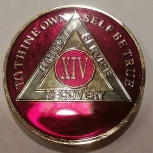 14 Year AA Sobriety Chip Recovery Challenge Coin Blue Enamel 1 3//4 Inch XIV