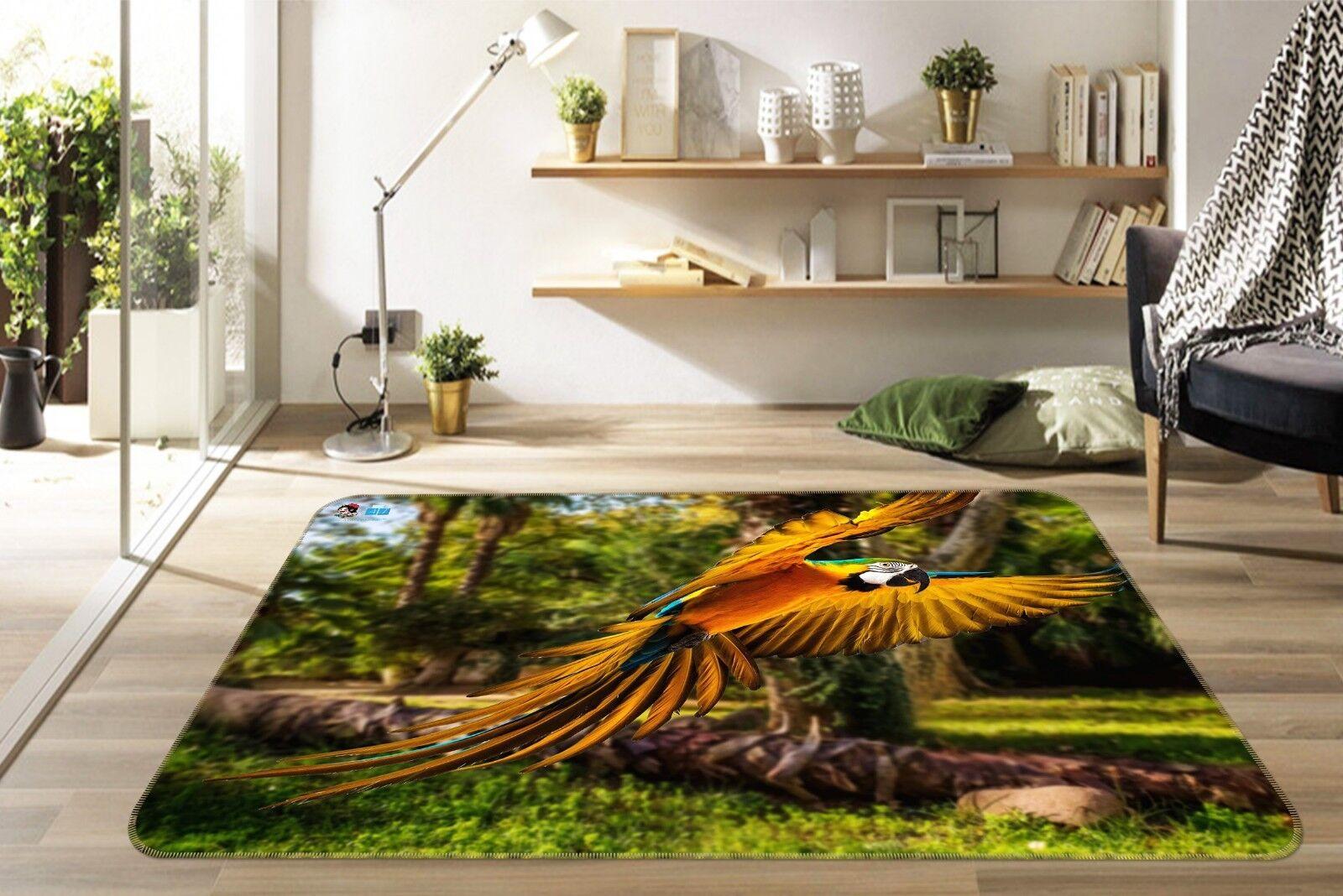 3D Parrosso Foresta 66 tappetino antiscivolo tappeto camera Tappetino Qualità Elegante foto Tappeto UK