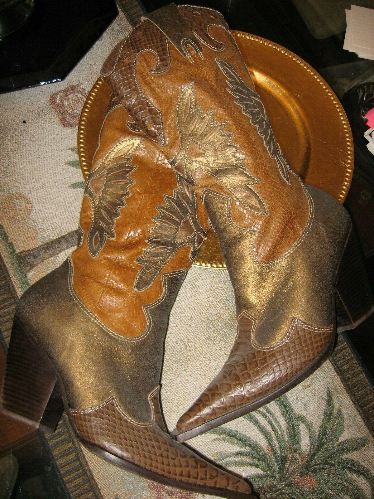 Para Raio botas,  Western Mujer, marrón con ribete Python, Cuero, Excelente condición usada, 9M  más descuento