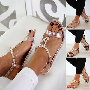 16c1531768bfc Image is loading New-Womens-Flat-Sandals-Embellished-Slingback-Comfy-Holiday -
