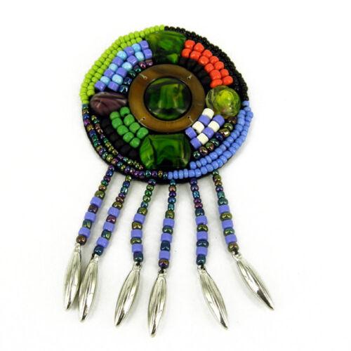 Round Patch Sewing bag Decoration Inca Kuchi Afghan Banjara Tribal beads AF72