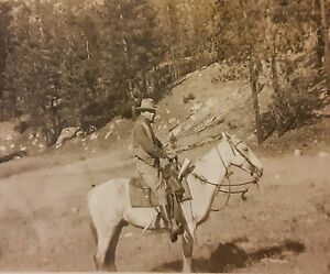 Vintage 1920's Photo of American Cowboy  on Horse with Hat Rifle Handgun Holster