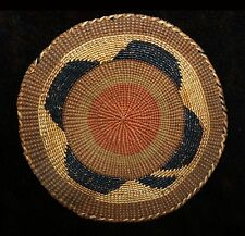 """Excellent Uncommon Antique Tlingit Polychrome Basketry Tray or Scoop 6 1/2""""d"""