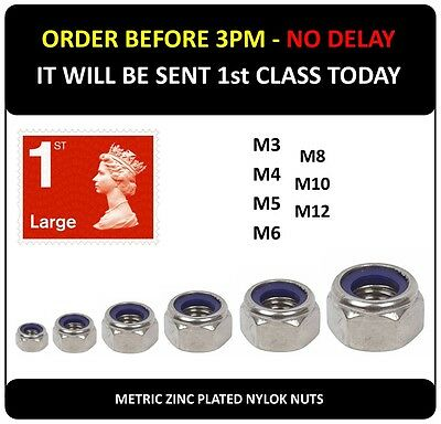 Nylok Lock Steel Nut 3mm 4mm 5mm 6mm 8mm 10mm12mm Nylon Nyloc mm Locking Nuts